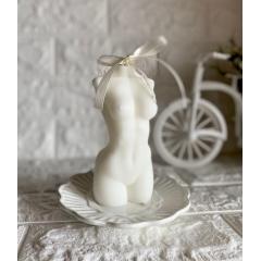 """Интерьерная свеча из 100% кокосового воска """"Женское Тело"""".250 гр.15 см."""